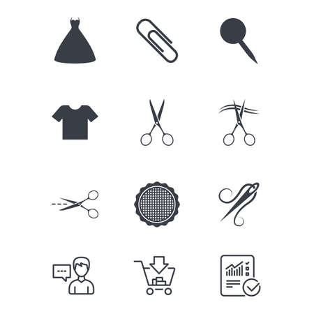 Tailor, sewing and embroidery icons. Scissors, safety pin and needle signs. Shirt and dress symbols. Customer service, Shopping cart and Report line signs. Online shopping and Statistics. Vector Çizim