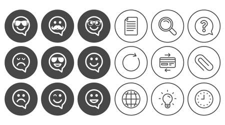 Smile speech bubbles icons. Happy, sad and wink faces signs. Sunglasses, mustache and laughing lol smiley symbols. Document, Globe and Clock line signs. Lamp, Magnifier and Paper clip icons. Vector