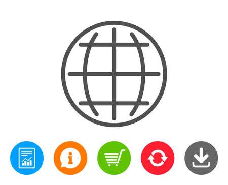 Icône de ligne de globe. Signe du monde ou de la terre. Symbole Internet mondial. Signalez, informez et actualisez les signes de ligne. Panier et Télécharger des icônes. AVC modifiable Vecteur Banque d'images - 84142085