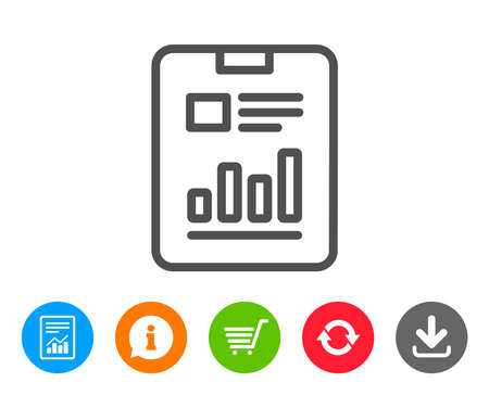 Report document line icon. Analysis Chart or Sales growth sign. Statistics data symbol. Report, Information and Refresh line signs. Shopping cart and Download icons. Editable stroke. Vector