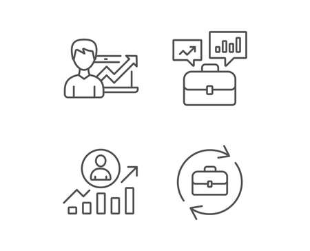 Portfolio case, Business results and HR line icons. Job Analytics, Growth chart and Business case signs. Quality design elements. Editable stroke. Vector Illustration