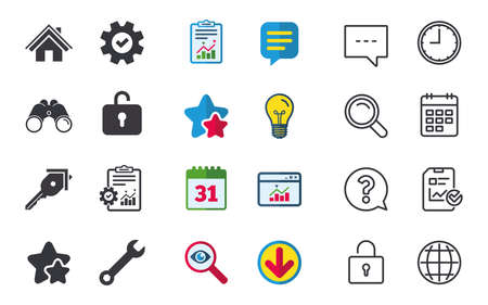 Home key icon. Wrench service tool symbol. Locker sign. Main page web navigation. Chat, Report and Calendar signs. Stars, Statistics and Download icons. Question, Clock and Globe. Vector Ilustrace