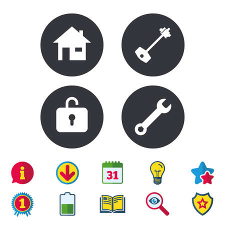 Home key icon. Wrench service tool symbol. Locker sign. Main page web navigation. Calendar, Information and Download signs. Stars, Award and Book icons. Light bulb, Shield and Search. Vector
