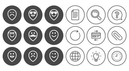 笑顔のポインター アイコン。幸せ、悲しい、ウインク印に直面しています。サングラス、口ひげ、笑絵文字シンボルを笑っています。ドキュメント