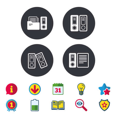 Accounting icons. Document storage in folders sign symbols. Calendar, Information and Download signs. Stars, Award and Book icons. Light bulb, Shield and Search. Vector Иллюстрация