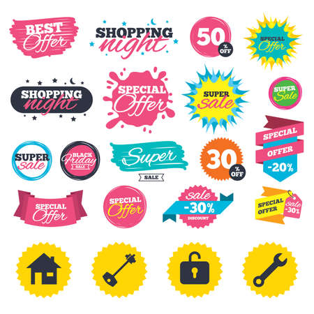 Sale shopping banners. Home key icon. Wrench service tool symbol. Locker sign. Main page web navigation. Web badges, splash and stickers. Best offer. Vector Ilustrace