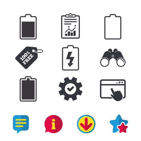 Battery charging icons. Electricity signs symbols. Charge levels: full, empty. Browser window, Report and Service signs. Binoculars, Information and Download icons. Stars and Chat. Vector