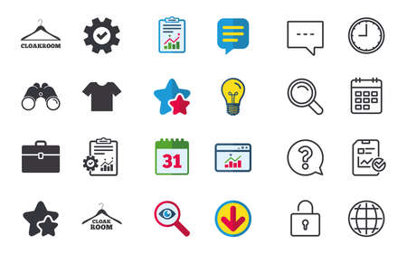 Cloakroom icons. Hanger wardrobe signs. T-shirt clothes and baggage symbols. Chat, Report and Calendar signs. Stars, Statistics and Download icons. Question, Clock and Globe. Vector Illustration
