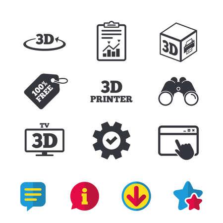 3D-technologie iconen. Printer, rotatiepijltekensymbolen. Kubus afdrukken. Browservenster, rapport en serviceborden. Verrekijker, informatie en download pictogrammen. Sterren en chatten. Vector