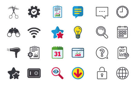 Hotel services icons. wifi, Hairdryer and deposit lock in room signs. Wireless Network. Hairdresser or barbershop symbol. Chat, Report and Calendar signs. Stars, Statistics and Download icons