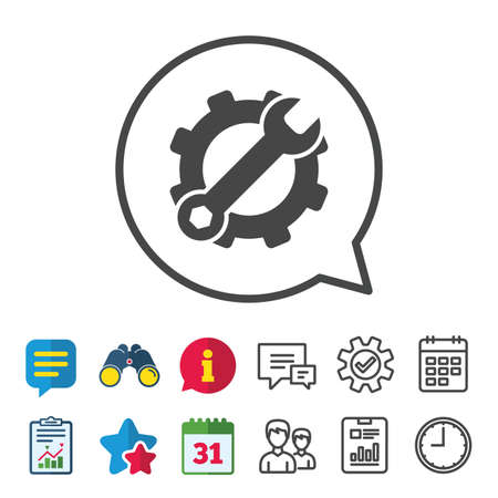 Service icon. Wrench key with cogwheel gear sign. Information, Report and Calendar signs. Group, Service and Chat line icons. Vector Stock Vector - 84251835