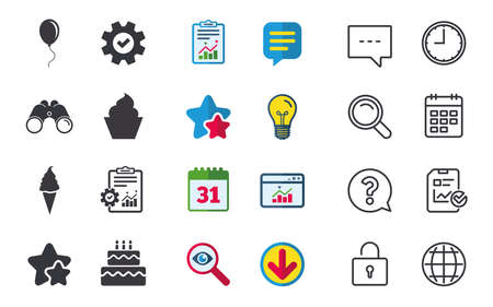 Birthday party icons. Cake with ice cream signs. Air balloon with rope symbol. Chat, Report and Calendar signs. Stars, Statistics and Download icons. Question, Clock and Globe. Vector