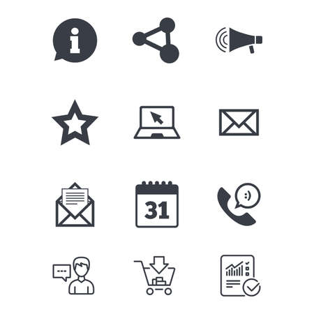 Communication icons. Contact, mail signs. E-mail, information speech bubble and calendar symbols. Customer service, Shopping cart and Report line signs. Online shopping and Statistics. Vector