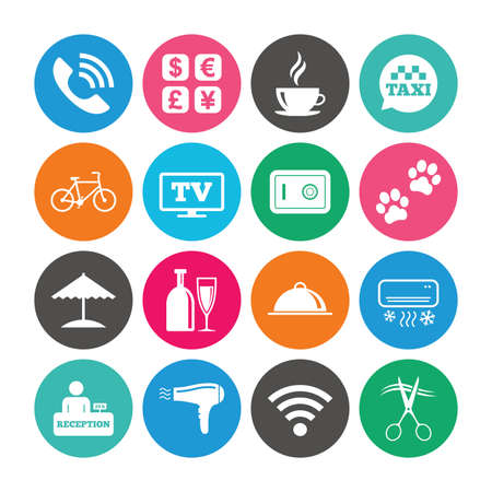 Set of Hotel services icons. Phone call, Wifi internet and Currency exchange signs. Coffee, Wine bottle and Air conditioning symbols. Colored circle buttons with flat signs. Vector