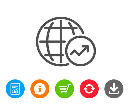 World Statistics line icon. Report chart or Sales growth sign. Data Analysis graph symbol. Report, Information and Refresh line signs. Shopping cart and Download icons. Editable stroke. Vector Illusztráció