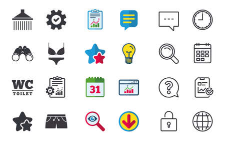 Swimming pool icons. Shower water drops and swimwear symbols. WC Toilet sign. Trunks and women underwear. Chat, Report and Calendar signs. Stars, Statistics and Download icons. Vector Ilustração