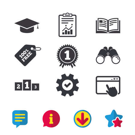 Graduation icons. Graduation student cap sign. Education book symbol. First place award. Winners podium. Browser window, Report and Service signs. Binoculars, Information and Download icons. Vector