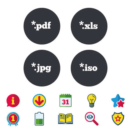 Document icons. File extensions symbols. PDF, XLS, JPG and ISO virtual drive signs. Calendar, Information and Download signs. Stars, Award and Book icons. Light bulb, Shield and Search. Vector Illustration