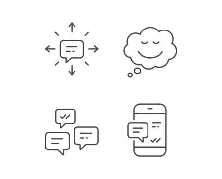 Mensaje, burbuja de discurso cómico y los iconos de línea de comunicación. Chat en grupo, Conversación y señales de SMS. Símbolo de alerta de teléfono. Elementos de diseño de calidad. Trazo editable Vector Foto de archivo - 84251891