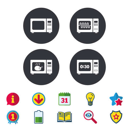Microwave oven icons. Cook in electric stove symbols. Grill chicken with timer signs. Calendar, Information and Download signs. Stars, Award and Book icons. Light bulb, Shield and Search. Vector