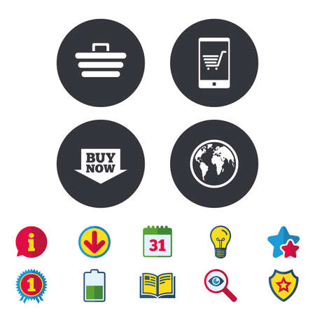 Online shopping icons. Smartphone, shopping cart, buy now arrow and internet signs. WWW globe symbol. Calendar, Information and Download signs. Stars, Award and Book icons. Vector Illustration