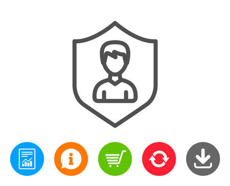 security symbol: User Protection line icon. Profile Avatar with shield sign. Male Person silhouette symbol. Report, Information and Refresh line signs. Shopping cart and Download icons. Editable stroke. Vector Illustration