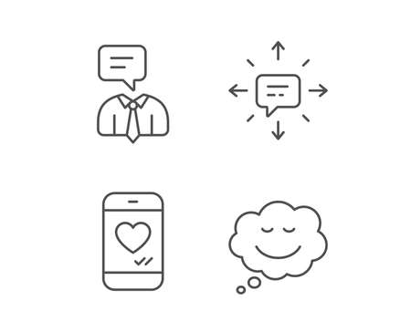 Message, Comic speech bubble and Communication line icons. Social media like, Conversation and SMS signs. Quality design elements. Editable stroke. Vector Ilustração