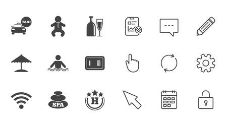Hotel, apartment service icons. Spa, swimming pool signs. Alcohol drinks, wifi internet and safe symbols. Chat, Report and Calendar line signs. Service, Pencil and Locker icons. Vector Stock Vector - 84251913