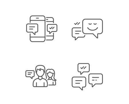 メッセージ、チャット吹き出しおよび通信線のアイコン。グループ チャットの会話や SMS に署名します。メッセンジャーのシンボル。品質デザイン