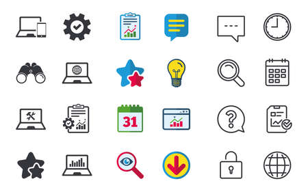 Notebook laptop pc icons. Internet globe sign. Repair fix service symbol. Monitoring graph chart. Chat, Report and Calendar signs. Stars, Statistics and Download icons. Question, Clock and Globe
