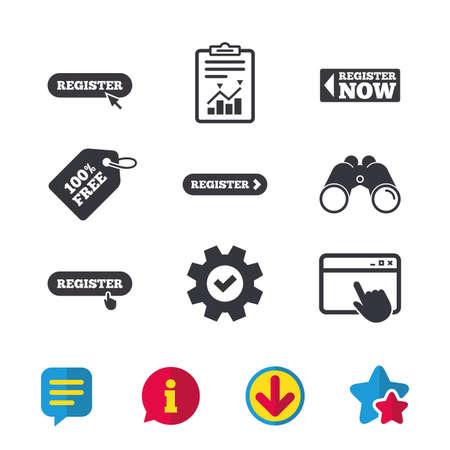 ハンド ポインター アイコンに登録します。マウス カーソル シンボル。会員記号。ブラウザー ウィンドウ、レポートとサービスの兆候。双眼鏡は、  イラスト・ベクター素材