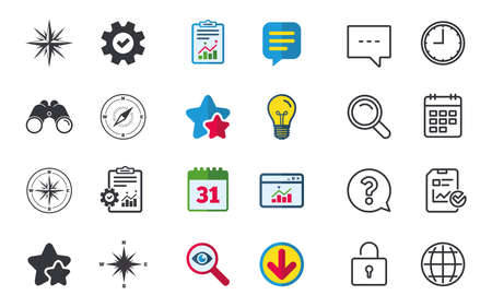 Windrose navigation icons. Compass symbols. Coordinate system sign. Chat, Report and Calendar signs. Stars, Statistics and Download icons. Question, Clock and Globe. Vector