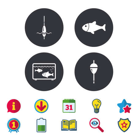 Fishing icons. Fish with fishermen hook sign. Float bobber symbol. Aquarium icon. Calendar, Information and Download signs. Stars, Award and Book icons. Light bulb, Shield and Search. Vector