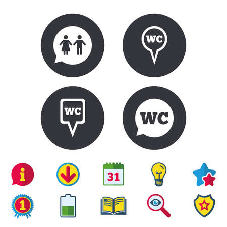 WC Toilet pointer icons. Gents and ladies room signs. Man and woman speech bubble symbols. Calendar, Information and Download signs. Stars, Award and Book icons. Light bulb, Shield and Search. Vector Illustration