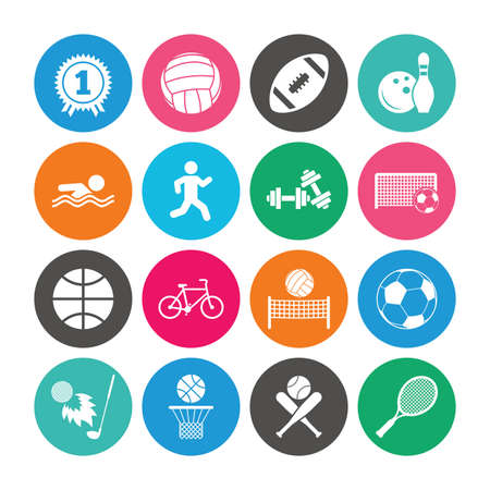 Set of Sport and Fitness icons. Football, tennis and volleyball signs. Swimming pool, Biking and Bowling symbols. Award, Golf and Baseball. Colored circle buttons with flat signs. Vector
