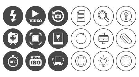 Foto, Videoikonen. Kamera, Fotos und Rahmenzeichen. Flash-, Timer- und Makrosymbole. Dokument, Globus und Uhr Linienschilder. Lampe, Lupe und Büroklammerikonen. Frage, Kreditkarte und Aktualisieren Standard-Bild - 84251935