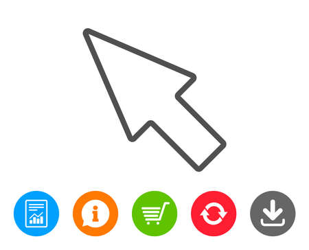 Mouse Cursor line icon. Pointer sign. Click arrow symbol. Report, Information and Refresh line signs. Shopping cart and Download icons. Editable stroke. Vector