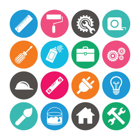 Set of Construction tools, Engineering and Repair icons. Electric plug, Helmet and Screwdriver signs. Lamp, Hammer and Paint symbols. Colored circle buttons with flat signs. Vector Illustration