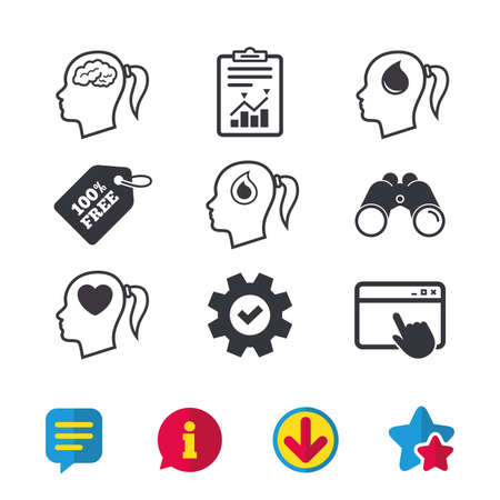 Head with brain icon. Female woman think symbols. Blood drop donation signs. Love heart. Browser window, Report and Service signs. Binoculars, Information and Download icons. Stars and Chat. Vector Иллюстрация