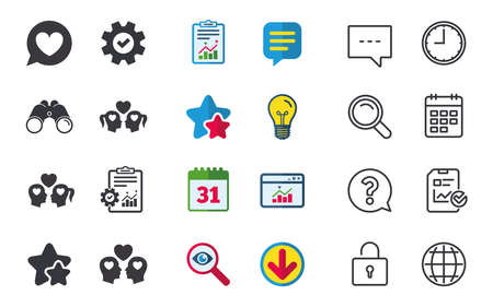 Couple love icon. Lesbian and Gay lovers signs. Romantic homosexual relationships. Speech bubble with heart symbol. Chat, Report and Calendar signs. Stars, Statistics and Download icons. Vector Illustration