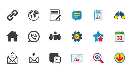 Communication icons. Contact, mail signs. E-mail, call phone and group symbols. Calendar, Report and Download signs. Stars, Service and Search icons. Statistics, Binoculars and Chat. Vector