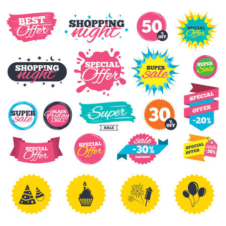 Sale shopping banners. Birthday party icons. Cake, balloon, hat and muffin signs. Fireworks with rocket symbol. Cupcake with candle. Web badges, splash and stickers. Best offer. Vector