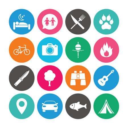 Set of Travel, Hiking and Camping icons. Fishing, Biking and WC toilet signs. Tourist tent, Food and Bed symbols. Photo and Rent a car. Colored circle buttons with flat signs. Vector