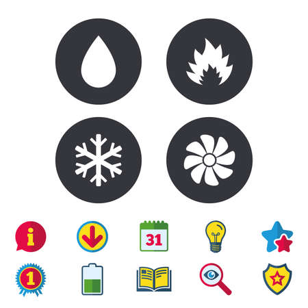HVAC icons. Heating, ventilating and air conditioning symbols. Water supply. Climate control technology signs. Calendar, Information and Download signs. Stars, Award and Book icons. Vector Illustration