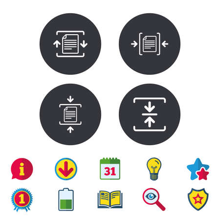 Archivo de iconos de archivo. Comprimido de signos de documentos comprimidos. Símbolos de compresión de datos Calendario, información y signos de descarga. Iconos de estrellas, premios y libros. Bombilla, escudo y búsqueda. Vector Foto de archivo - 84252295