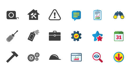 Repair, construction icons. Helmet, screwdriver and hammer signs. Gears, painting spray and attention symbols. Calendar, Report and Download signs. Stars, Service and Search icons. Vector Illustration