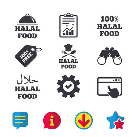 Halal food icons. 100% natural meal symbols. Chef hat with spoon and fork sign. Natural muslims food. Browser window, Report and Service signs. Binoculars, Information and Download icons. Vector Illustration