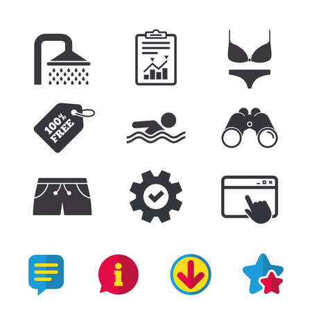 Swimming pool icons. Shower water drops and swimwear symbols. Human swims in sea waves sign. Trunks and women underwear. Browser window, Report and Service signs. Vector Illustration