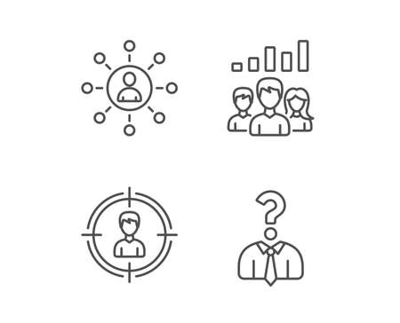 Head hunting, Business Networking and Teamwork line icons. Get a Job, Communication and Team work results signs. Quality design elements. Editable stroke. Vector