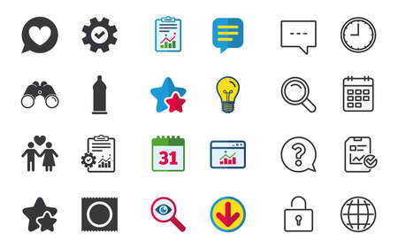Condom safe sex icons. Lovers couple signs. Male love female. Speech bubble with heart. Chat, Report and Calendar signs. Stars, Statistics and Download icons. Question, Clock and Globe. Vector
